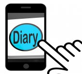 Diary Button Displays Online Planner Or Schedule — Stock Photo
