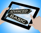 Advanced Basic Tablet Shows Product Versions And Prices — Stock Photo