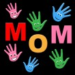 Mom Handprints Shows Painted Mommy And Creativity — Stock Photo #53357669
