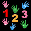 Kids Counting Indicates One Two Three And Number — Stock Photo #53357931