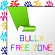 Bully Free Zone Indicates School Bullying And Assistance — Stock Photo #53358019