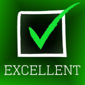 Tick Excellent Shows Excelling Excellency And Perfection — Stock Photo