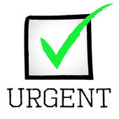 Tick Urgent Means Rush Compelling And Speed — Stock Photo