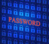 Password Security Shows Sign In And Access — Stock Photo