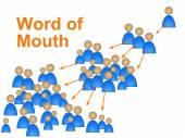 Boca a boca representa marketing en medios sociales y conectar — Foto de Stock