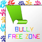 Bully Free Zone Indicates School Bullying And Assistance — Stock Photo