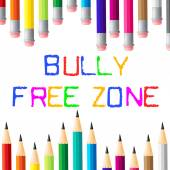 Bully Free Zone Indicates Bullying Children And Cyberbully — Stock Photo