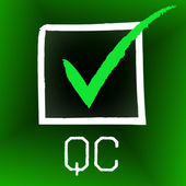 Qc Tick Shows Quality Control And Approve — Stock Photo