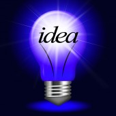 Ideas Lightbulb Shows Thoughts Creativity And Invention — Stock Photo