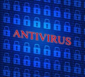 Antivirus Security Represents Malicious Software And Defense — Stock Photo