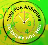 Time For Answers Represents Knowhow Assist And Help — Stock Photo