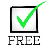 Free Tick Indicates No Cost And Approved — Stock Photo