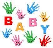 Newborn Baby Means Hands Together And Arm — Stock Photo