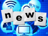 News Media Represents Multimedia Journalism And Headlines — Stock Photo