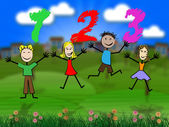 One Two Three Represents Learn Arithmetic And Number — Stock Photo