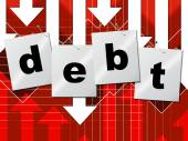 Debts Debt Shows Liability Financial And Owning — Stock Photo