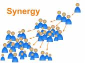 Team Synergy Means Work Together And Collaborate — Stock Photo