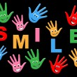 Handprints Smile Represents Child Painted And Childhood — Stock Photo #53361523