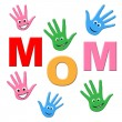 Handprints Mom Represents Human Watercolor And Painted — Stock Photo #53361599