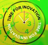 Time For Innovation Represents Concepts Inventions And Thoughts — Stock Photo