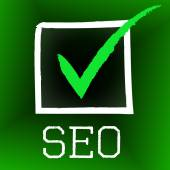 Seo Tick Indicates Confirmed Correct And Pass — Stock Photo