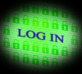 Log In Shows World Wide Web And Encryption — Stock Photo