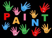 Kids Paint Indicates Colour Color And Youngster — Stock Photo