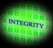 Integrity Data Represents Bytes Facts And Decency — Stock Photo