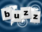 Word Buzz Indicates Public Relations And Publicity — Stock Photo