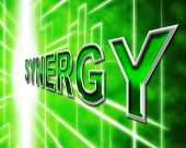 Synergy Energy Shows Work Together And Collaboration — Stock Photo