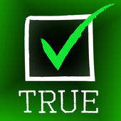 Tick True Represents In Truth And Accurate — Stock Photo