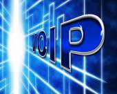 Voip Telephony Indicates Voice Over Broadband And Protocol — Stock Photo