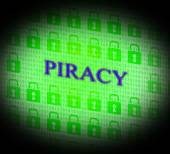 Piracy Copyright Indicates Protect Registered And Trademark — Stock Photo