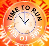 Time To Run Indicates Must Leave And Late — Stock Photo