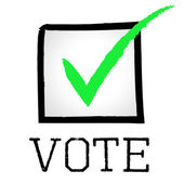 Vote Tick Means Passed Choosing And Poll — Stock Photo