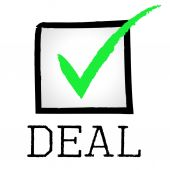 Tick Deal Means Hot Deals And Bargain — Stock Photo