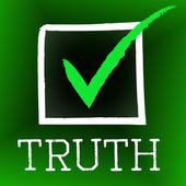 Truth Tick Indicates No Lie And Accuracy — Stock Photo