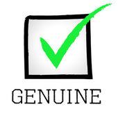 Genuine Tick Indicates Bona Fide And Assurance — Stock Photo