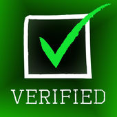 Tick Verified Indicates Authenticity Guaranteed And Approved — Stock Photo