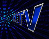 Cctv Surveillance Means Security Camera And Monitoring — ストック写真