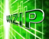 Unzip File Means Files Zipper And Folders — Stok fotoğraf