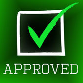 Approved Tick Represents Correct Assurance And Approval — Stock Photo