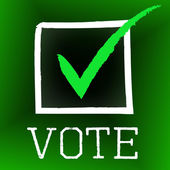 Vote Tick Represents Decision Confirmed And Choosing — Stock Photo