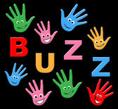 Kids Buzz Shows Public Relations And Youth — Stock Photo