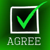 Agree Tick Means Checked Affirmation And O.K. — Stock Photo
