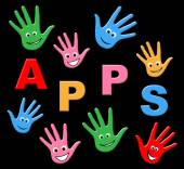 Apps Kids Means Application Software And Youngsters — Stock Photo