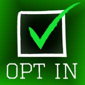 Opt In Represents Tick Symbol And Checked — Stock Photo