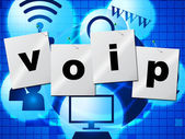 Voip Communication Shows Voice Over Broadband And Chat — Stock Photo