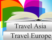 Europe Books Means Travel Guide And Asia — Stock Photo