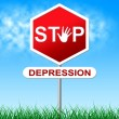 Stop Depression Shows Warning Sign And Anxiety — Stock Photo #54204595